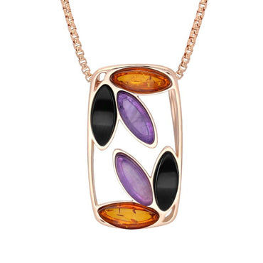 Rose Gold Whitby Jet Amber Amethyst Six Stone Oblong Necklace P3489C