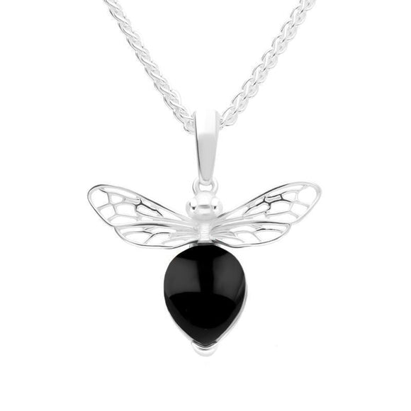 Sterling Silver Small Whitby Jet Bee Necklace P3341C