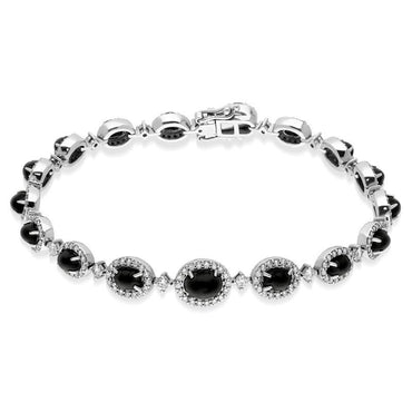 18ct White Gold Whitby Jet 1.78ct Diamond Bracelet B736