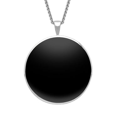 18ct White Gold Whitby Jet Round Classic Large Necklace, P1800.