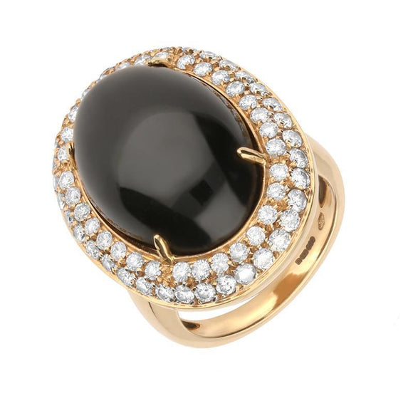 18ct Rose Gold Whitby Jet 1.49ct Diamond Large Oval Ring R469