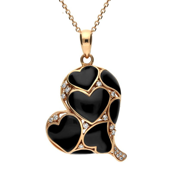 18ct Rose Gold Whitby Jet Diamond Inlaid Heart Necklace, P1702