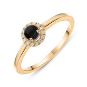 18ct Rose Gold Whitby Jet Diamond Round Cluster Ring. R1114.