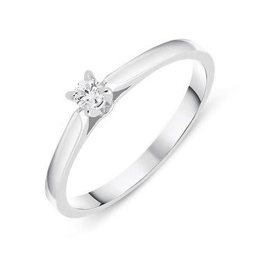 18ct White Gold 0.07ct Brilliant Cut Diamond Solitaire Ring BLC-087