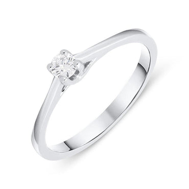 18ct White Gold 0.11ct Brilliant Cut Diamond Solitaire Ring BLC-091