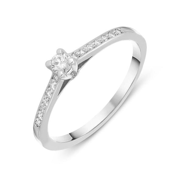 18ct White Gold 0.15ct Diamond Side Stone Engagement Ring BLC-031