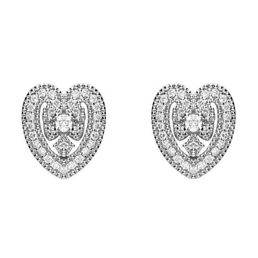 18ct White Gold 0.15ct Diamond House Style Leaf Stud Earrings E2287