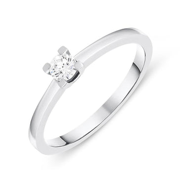 18ct White Gold 0.16ct Brilliant Cut Diamond Solitaire Ring BLC-095