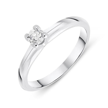 18ct White Gold 0.19ct Brilliant Cut Diamond Solitaire Ring BLC-093