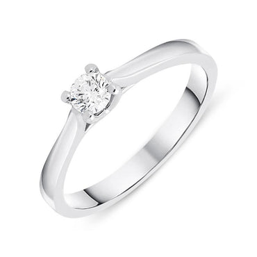 18ct White Gold 0.20ct Diamond Brilliant Cut Solitaire Ring BLC-089