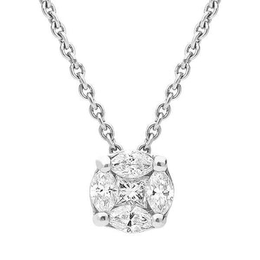 18ct White Gold 0.26ct Diamond Cluster Necklace FEU-312