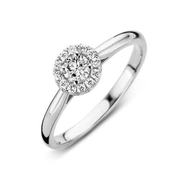 18ct White Gold 0.30ct Diamond Round Halo Ring BLC-038