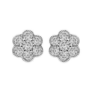 18ct White Gold 0.33ct Diamond Floral Cluster Earrings E2115