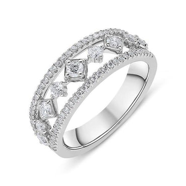 18ct White Gold 0.33ct Diamond House Style Half Eternity Ring. R1054.