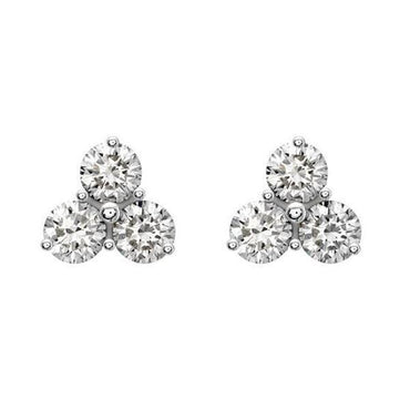 18ct White Gold 0.37ct Diamond Three Stone Stud Earrings, FEU-101.
