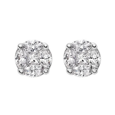 18ct White Gold 0.44 Carat Diamond Cluster Stud Earrings FEU-110