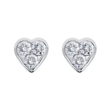 18ct White Gold 0.45ct Diamond Heart Stud Earrings. FEU-103.