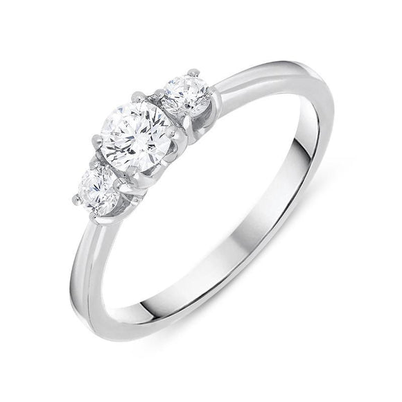18ct White Gold 0.50ct Brilliant Cut Diamond Trilogy Ring R1138