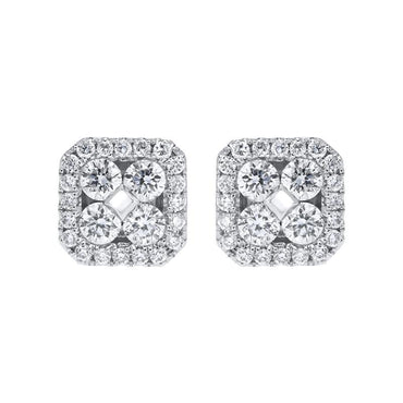 18ct White Gold 0.50ct Diamond Cluster Stud Earrings FEU-108