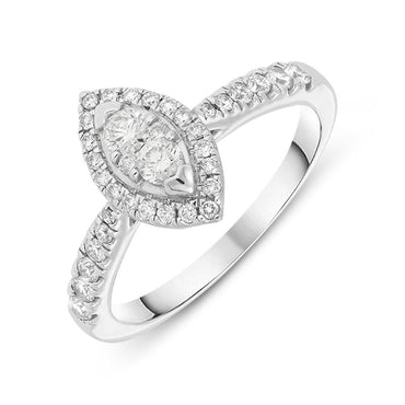 18ct White Gold 0.50ct Diamond Marquise Ring KRG-183
