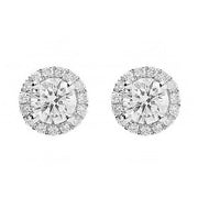 18ct White Gold 0.51ct Diamond Round Halo Stud Earrings E2102