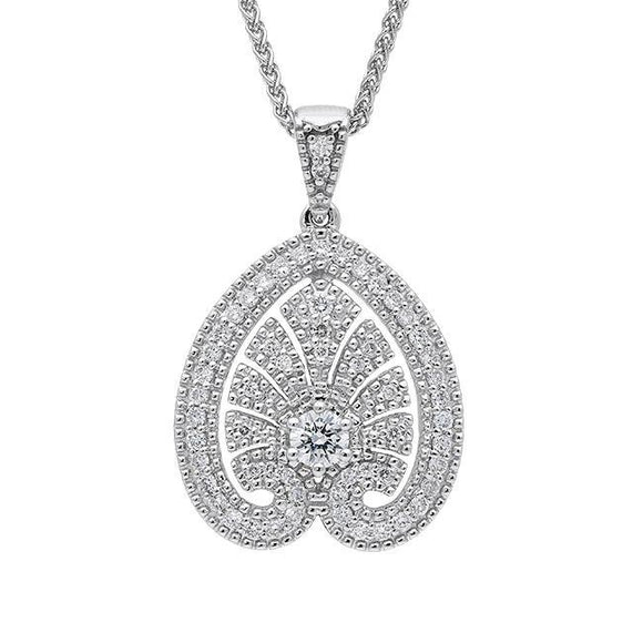 18ct White Gold 0.52 Carat Diamond House Style Small Leaf Necklace. P3056C.