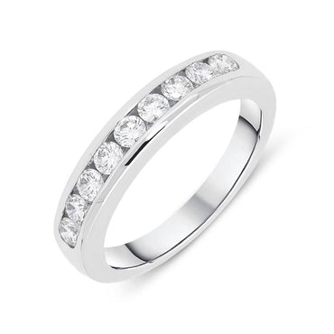 18ct White Gold 0.52ct Diamond Channel Set Half Eternity Ring FEU-824