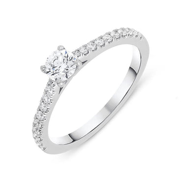 18ct White Gold 0.52ct Diamond Shoulder Ring BLC-077