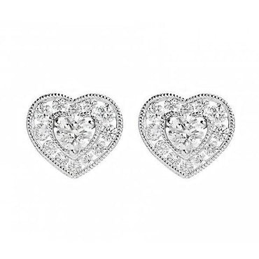 18ct White Gold 0.66ct Diamond Heart Cluster Earrings E2119