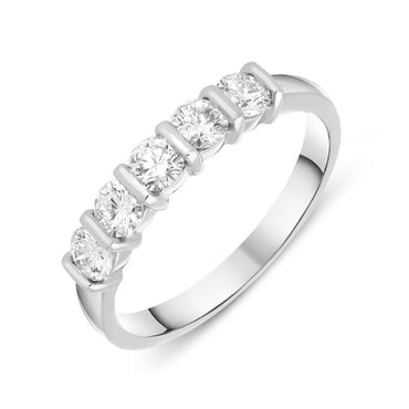 18ct White Gold 0.70ct Diamond Half Eternity Ring FEU-841