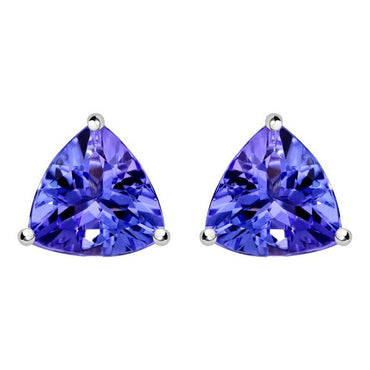 18ct White Gold 0.73ct Tanzanite Trillion Cut Stud Earrings TS1053E