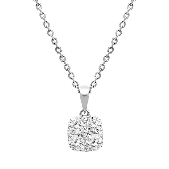 18ct White Gold 0.85ct Diamond Cushion Necklace P3182