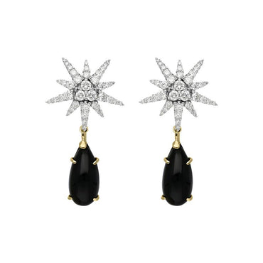 18ct White Gold 1.63ct Diamond Whitby Jet Star Drop Earrings, PCH-077.