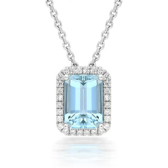 18ct White Gold 2.06ct Aquamarine Diamond Necklace PJW-253