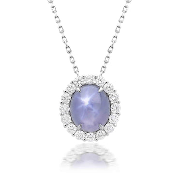 18ct White Gold 3.17ct Star Sapphire Diamond Cluster Necklace PJW-321