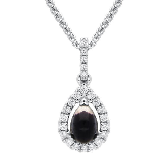 18ct White Gold Blue John 0.13ct Diamond Pear Cluster Necklace, P3323.