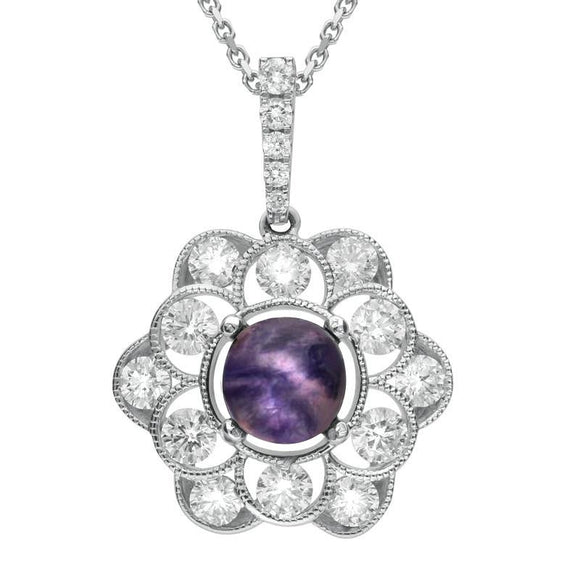 18ct White Gold Blue John Diamond Central Stone Flower Necklace P2661