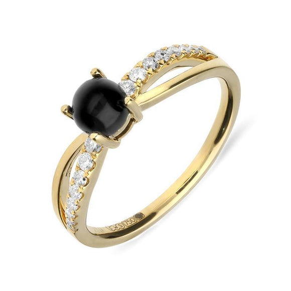 18ct Yellow Gold Whitby Jet Diamond Split Shoulder Ring R1097
