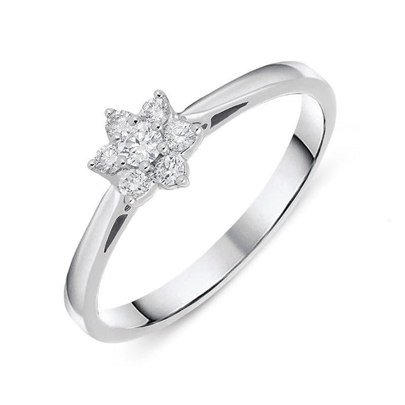 18ct White Gold 0.20ct Diamond Cluster Ring R946