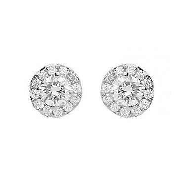 18ct White Gold 0.49ct Diamond Brilliant Cut Cluster Earrings E2103