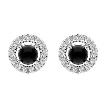 18ct White Gold Whitby Jet 0.10ct Diamond Round Stud Earrings E1996