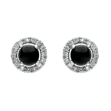 18ct White Gold Whitby Jet 0.12ct Diamond Round Stud Earrings E2414