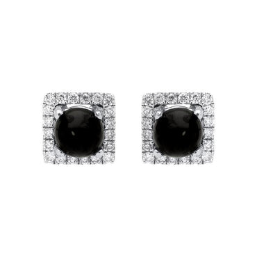 18ct White Gold Whitby Jet 0.13ct Diamond Square Stud Earrings, E2413.
