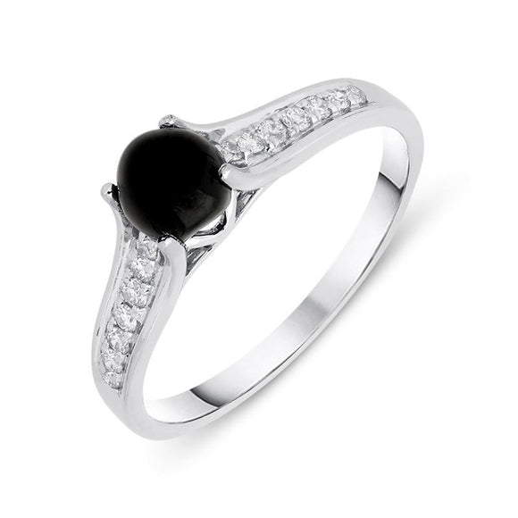 18ct White Gold Whitby Jet 0.15ct Diamond Shoulders Ring, R1156.