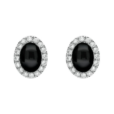18ct White Gold Whitby Jet 0.20ct Diamond Oval Open Hearts Stud Earrings E2387