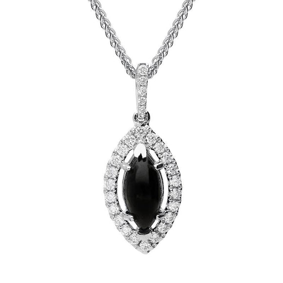 18ct White Gold Whitby Jet 0.21ct Diamond Marquise Necklace, P3325.