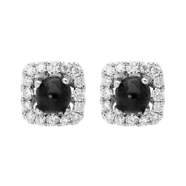 18ct White Gold Whitby Jet 0.21ct Diamond Square Stud Earrings, E2416.