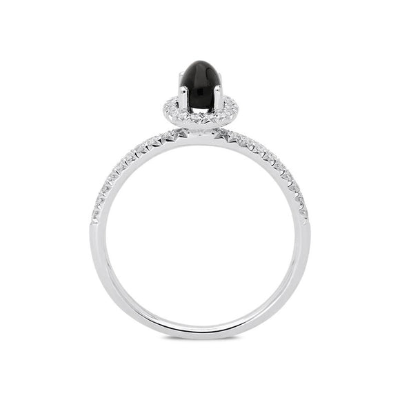 18ct White Gold Whitby Jet 0.27ct Diamond Oval Cluster Ring, R1151.