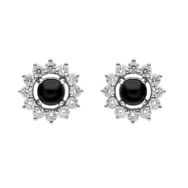 18ct White Gold Whitby Jet 0.65ct Diamond Round Stud Earrings E1993