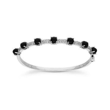 18ct White Gold Whitby Jet 0.72ct Diamond Alternating Stone Bangle B1077